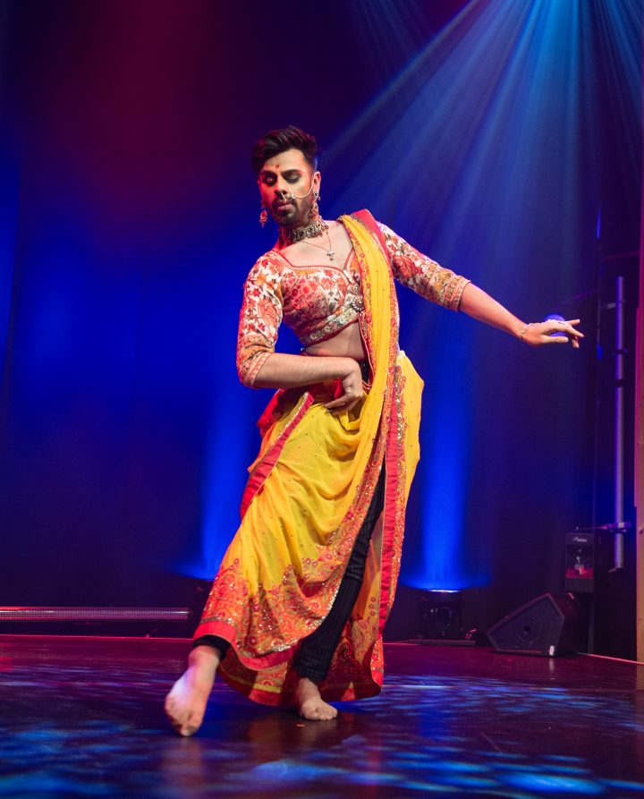South Asian dancer performing on stage