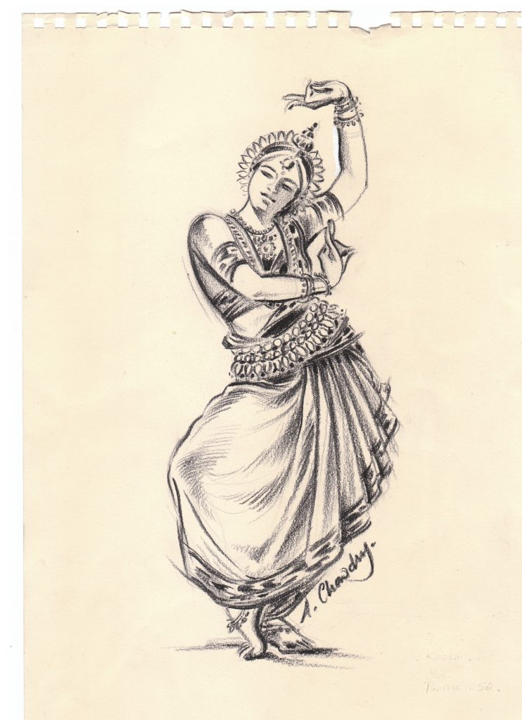 Pencil drawing of a South Asian dancer