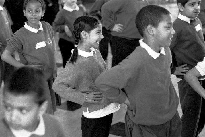 Primary school children during a dance workshop